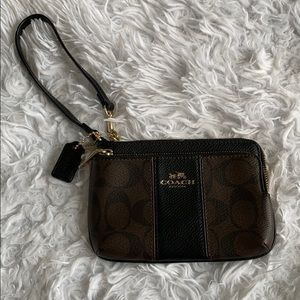 COACH brown & black wristlet with gold accents